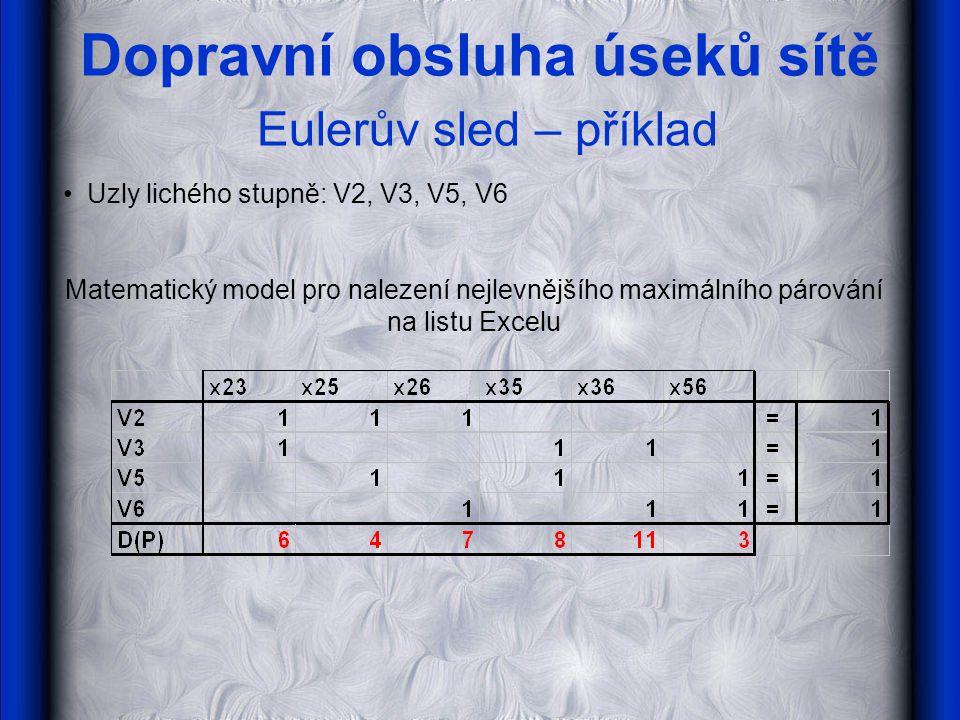 Dopravní obsluha úseků sítě Eulerův sled – příklad Uzly lichého stupně: V2, V3, V5, V6 Matematický model pro nalezení nejlevnějšího maximálního párová