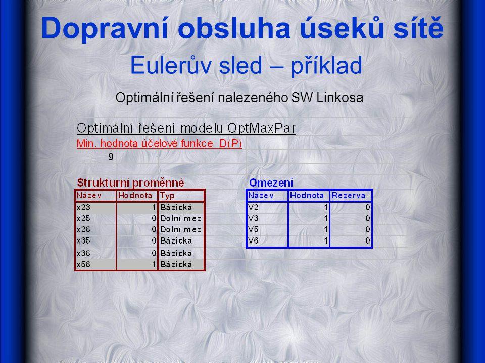 Dopravní obsluha úseků sítě Eulerův sled – příklad Optimální řešení nalezeného SW Linkosa