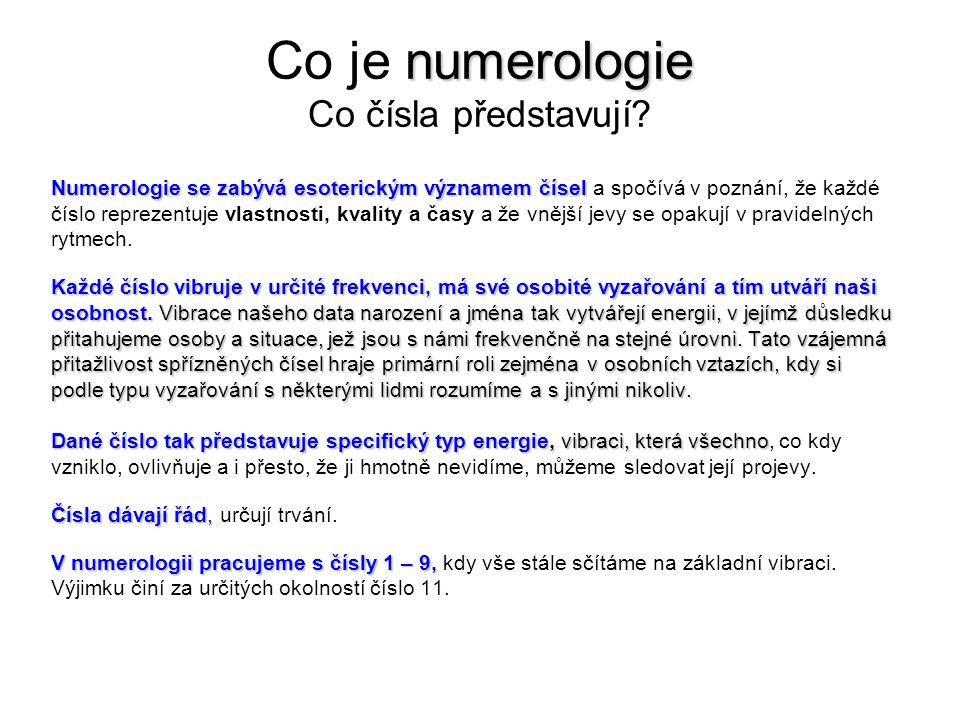 numerologie Co je numerologie Co čísla představují.
