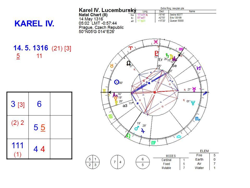 KAREL IV. 14. 5. 1316 (21) [3] 5 11 3 [3] 6 (2) 2 5 111 (1) 4