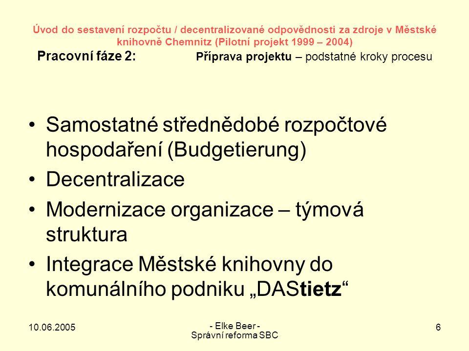 """10.06.2005 - Elke Beer - Správní reforma SBC 7 Úvod do sestavení rozpočtu / decentralizované zodpovědnosti za zdroje v Městské knihovně Chemnitz (Pilotní projekt 1999 – 2004) Pracovní fáze 2: Harmonogram přípravy projektu – Vytvoření předpokladů Časový rozsah prací na daném úkolu 199920002001 1112010203040506070809101112 Uzavření fáze 1: Inventarizace/Návrh postupu Určení rozsahu zodpovědnosti za zdroje Vytváření vztahů Knihovna  Odborné referáty Stanovení rozpočtového procesu Zařazení na referátu úřadu Zjištění změn úkolů, přizpůsobení organizace struktury a procesu Vytvoření materiálu pro rozhodnutí /der Beschluss- vorlage/ """"Organizační předpoklady Stanovení rozpočtu, naplánování rozpočtu Formulování cílů na základě předlohy městské správy Přepracování a zdokumentování produktového plánu a popisu produktu Stanovení ukazatelů a vytvoření technologií sběru dat Vytvoření KLAR vztahujících se na kalkulaci a na produkty Struktura standardních zpráv pro OB (DOB) a referáty Koncepce T&I/ Vytvoření předpokladů pro zahájení pilotní fáze Závěrečná zpráva o fázi 1 a plánování fáze 3 """"pilotní fáze"""
