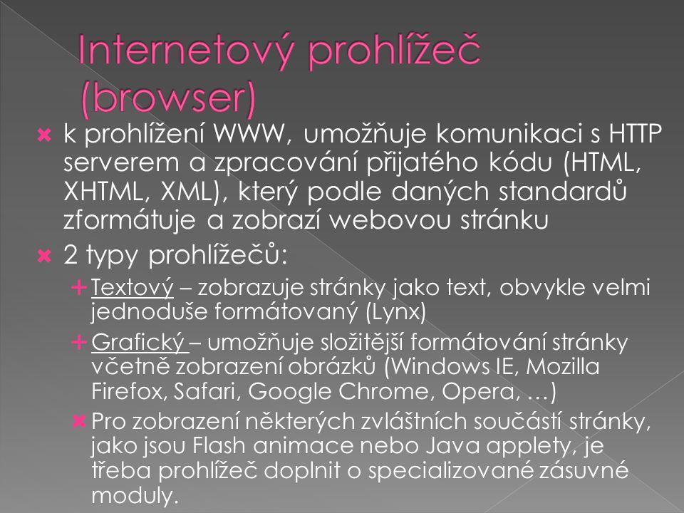  k prohlížení WWW, umožňuje komunikaci s HTTP serverem a zpracování přijatého kódu (HTML, XHTML, XML), který podle daných standardů zformátuje a zobr