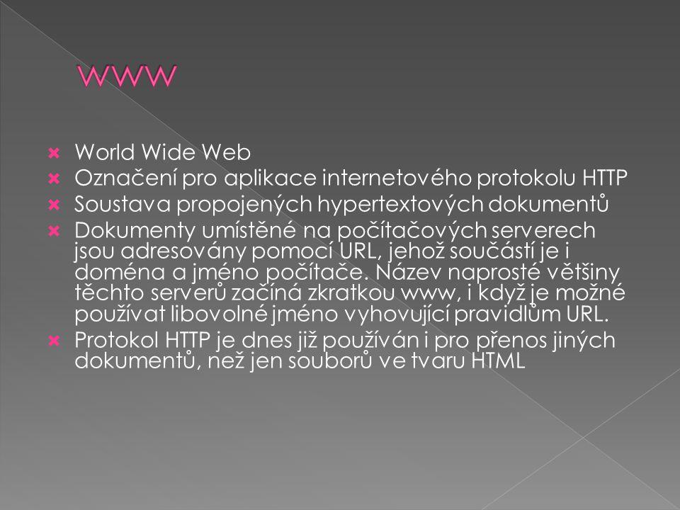  World Wide Web  Označení pro aplikace internetového protokolu HTTP  Soustava propojených hypertextových dokumentů  Dokumenty umístěné na počítačo
