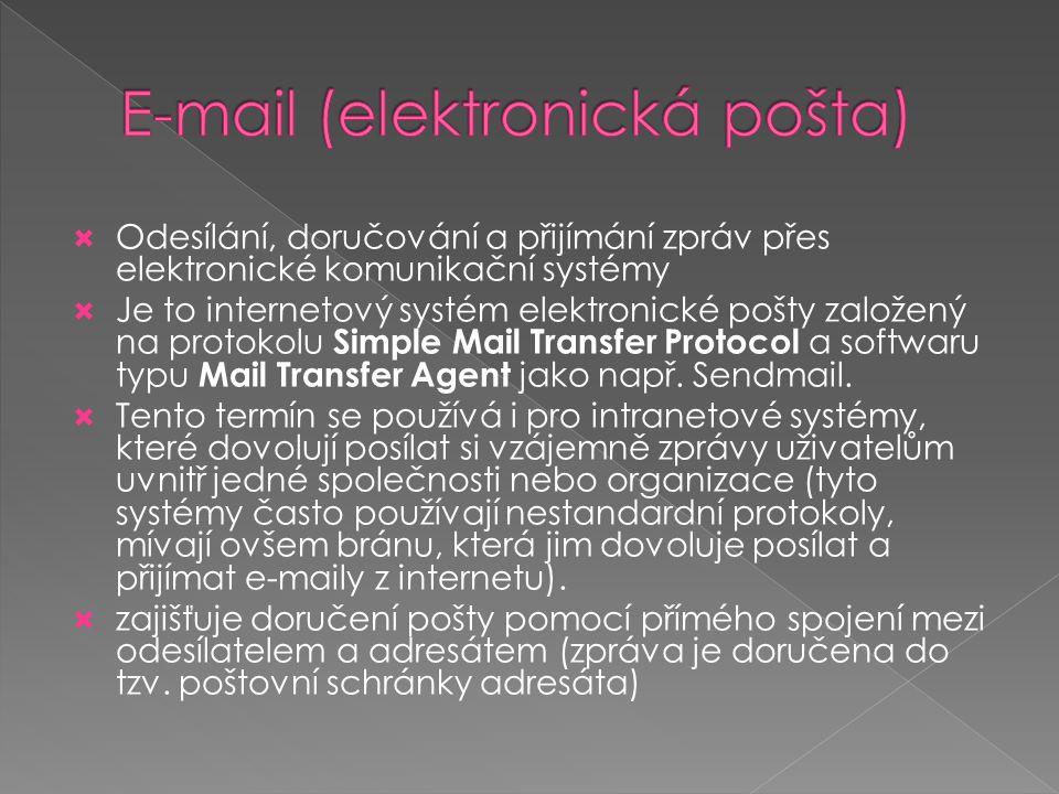  Odesílání, doručování a přijímání zpráv přes elektronické komunikační systémy  Je to internetový systém elektronické pošty založený na protokolu Si