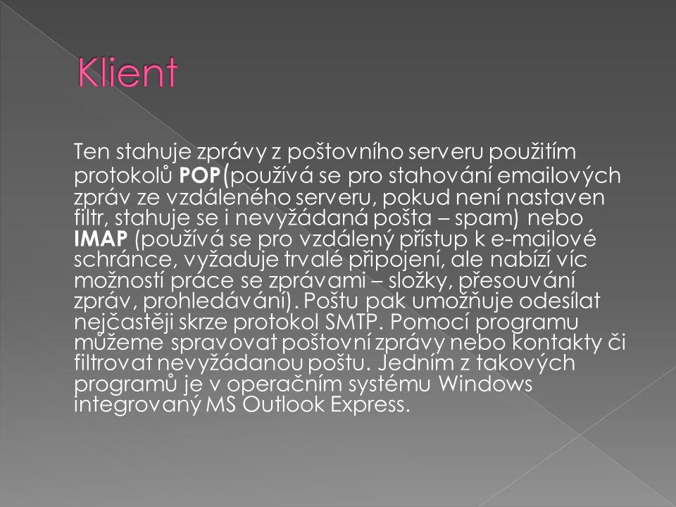  Dovoluje posílat nejen zprávy, ale také další soubory (texty, obrázky, programy) mezi počítači připojenými k této síti.
