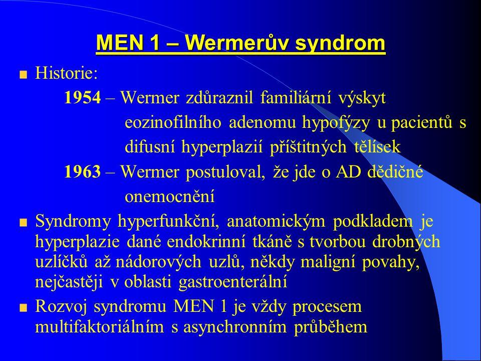 MEN 1 – Wermerův syndrom Historie: 1954 – Wermer zdůraznil familiární výskyt eozinofilního adenomu hypofýzy u pacientů s difusní hyperplazií příštitných tělísek 1963 – Wermer postuloval, že jde o AD dědičné onemocnění Syndromy hyperfunkční, anatomickým podkladem je hyperplazie dané endokrinní tkáně s tvorbou drobných uzlíčků až nádorových uzlů, někdy maligní povahy, nejčastěji v oblasti gastroenterální Rozvoj syndromu MEN 1 je vždy procesem multifaktoriálním s asynchronním průběhem