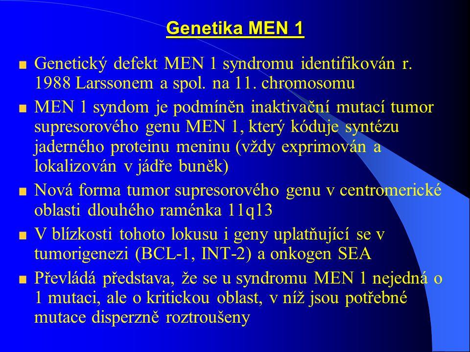 Terapie MEN 1:  PHP: parathyroidektomie, chirurgické, onkologické metody, radiofarmaka MEN 2:  MTC: thyroidektomie, příjem thyroidních hormonů per os, injekcí, chemoterapie a radioterapie neefektivní – metastázy  Feochromocytom – chirurgické odstranění tumoru, léčit jako první Nutné je vyšetření členů rodiny, periodické vyšetřování - různé projevy syndromu mají různou penetraci
