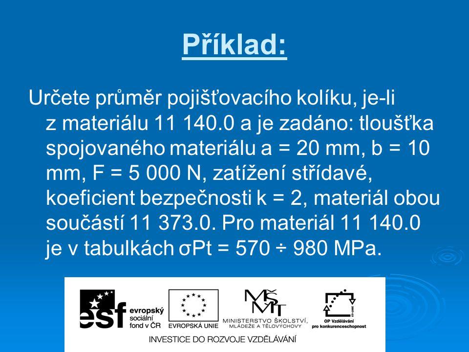 Příklad: Určete průměr pojišťovacího kolíku, je-li z materiálu 11 140.0 a je zadáno: tloušťka spojovaného materiálu a = 20 mm, b = 10 mm, F = 5 000 N,