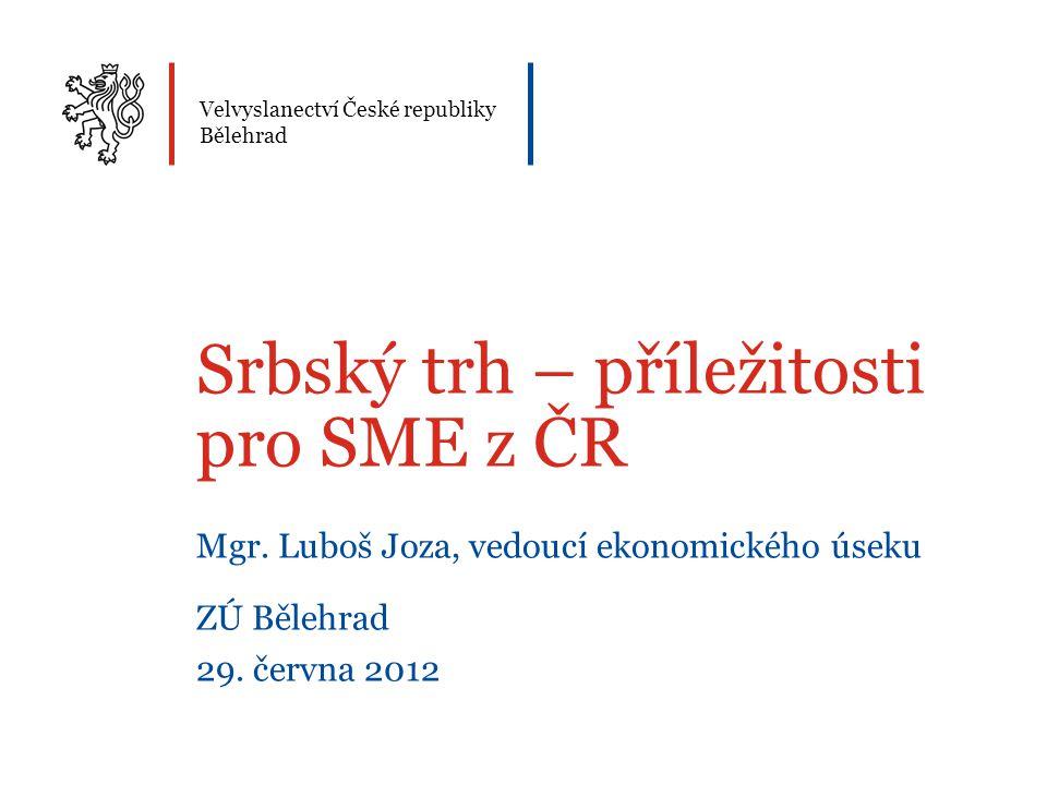 Velvyslanectví České republiky Bělehrad Srbský trh – příležitosti pro SME z ČR Mgr. Luboš Joza, vedoucí ekonomického úseku ZÚ Bělehrad 29. června 2012