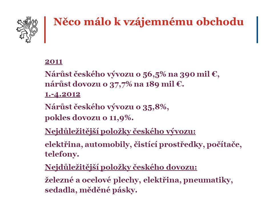 Něco málo k vzájemnému obchodu 2011 Nárůst českého vývozu o 56,5% na 390 mil €, nárůst dovozu o 37,7% na 189 mil €. 1.-4.2012 Nárůst českého vývozu o