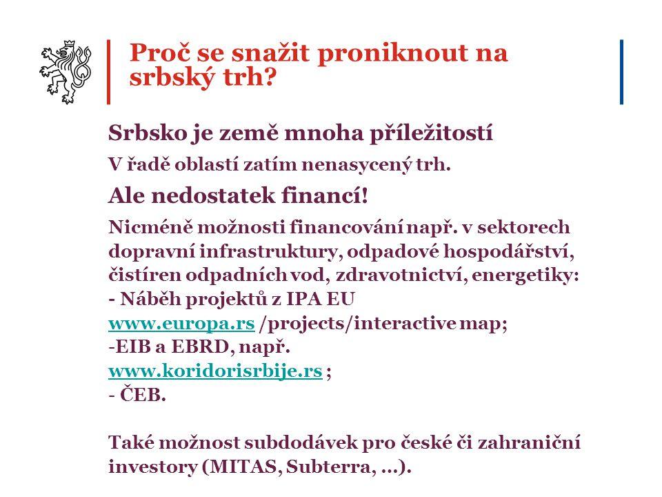 Proč se snažit proniknout na srbský trh? Srbsko je země mnoha příležitostí V řadě oblastí zatím nenasycený trh. Ale nedostatek financí! Nicméně možnos