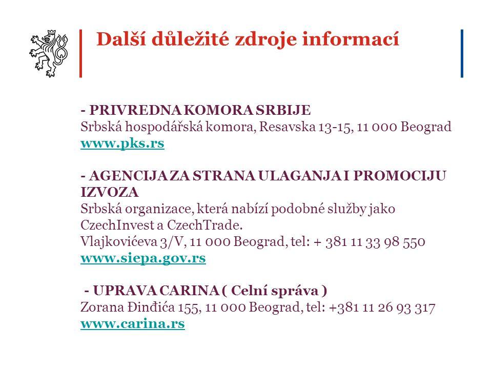 Další důležité zdroje informací - PRIVREDNA KOMORA SRBIJE Srbská hospodářská komora, Resavska 13-15, 11 000 Beograd www.pks.rs - AGENCIJA ZA STRANA UL