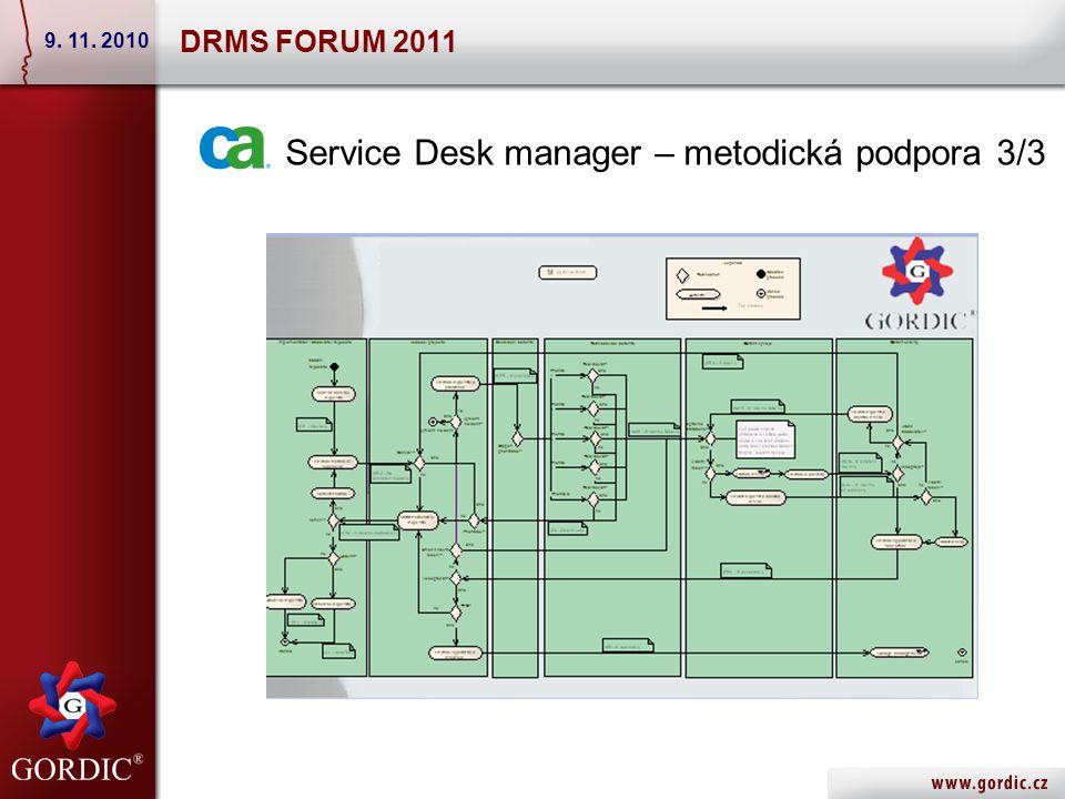 Service Desk manager – metodická podpora 3/3 DRMS FORUM 2011 9. 11. 2010