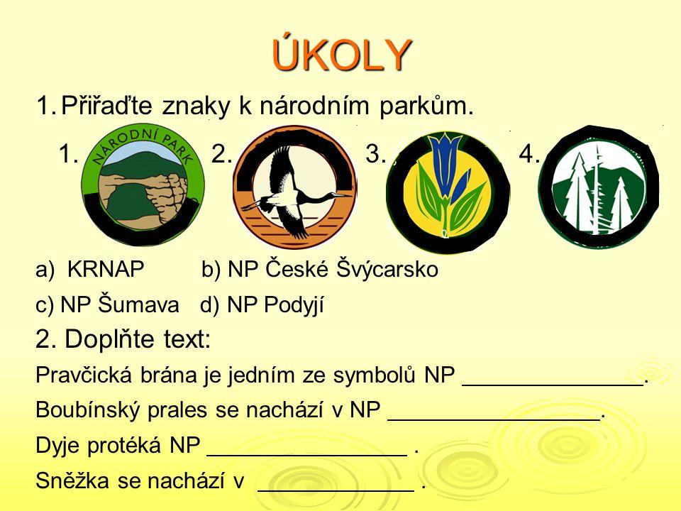 SPRÁVNÉ ODPOVĚDI 1.Přiřaďte znaky k národním parkům.