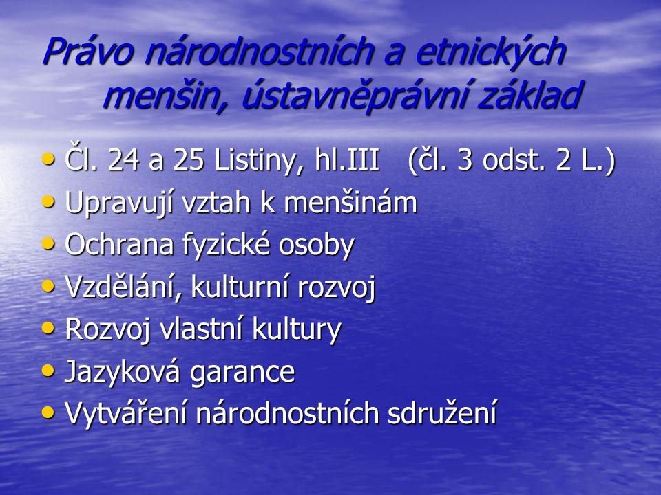 Právo národnostních a etnických menšin, ústavněprávní základ Čl. 24 a 25 Listiny, hl.III (čl. 3 odst. 2 L.) Čl. 24 a 25 Listiny, hl.III (čl. 3 odst. 2