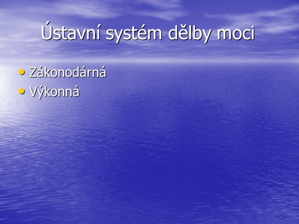 Ústavní systém dělby moci Ústavní systém dělby moci Zákonodárná Zákonodárná Výkonná Výkonná