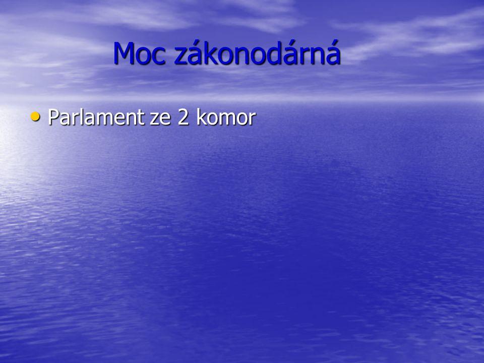 Moc zákonodárná Moc zákonodárná Parlament ze 2 komor Parlament ze 2 komor