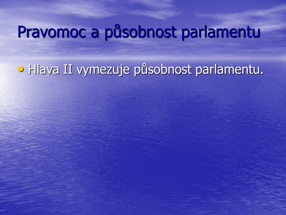 Pravomoc a působnost parlamentu Hlava II vymezuje působnost parlamentu. Hlava II vymezuje působnost parlamentu.