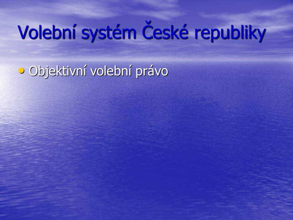 Volební systém České republiky Objektivní volební právo Objektivní volební právo