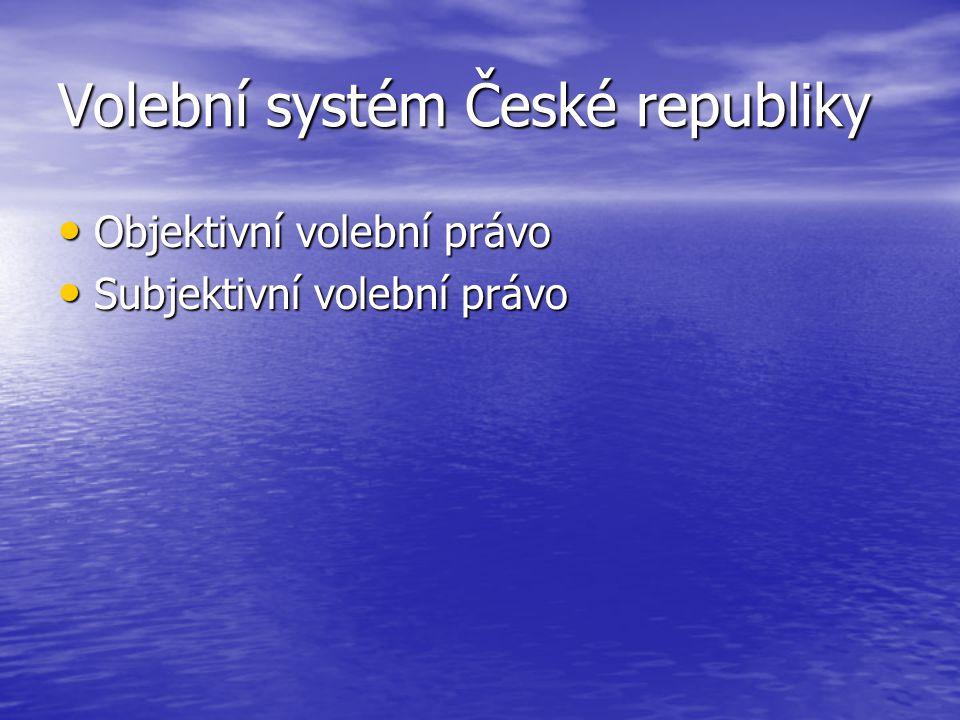 Volební systém České republiky Objektivní volební právo Objektivní volební právo Subjektivní volební právo Subjektivní volební právo