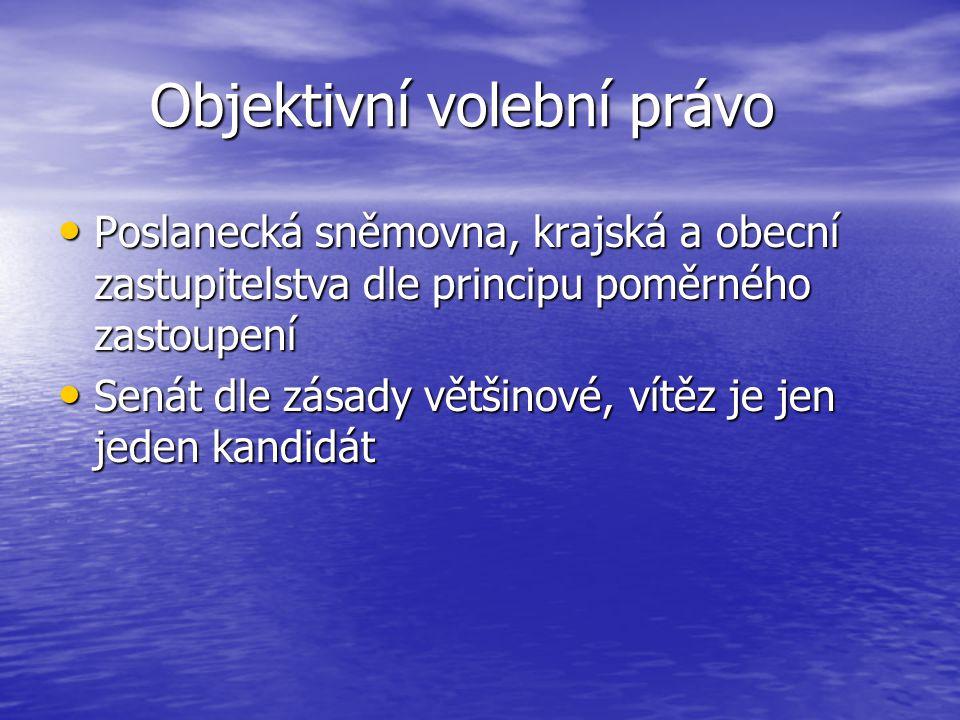 Objektivní volební právo Objektivní volební právo Poslanecká sněmovna, krajská a obecní zastupitelstva dle principu poměrného zastoupení Poslanecká sn
