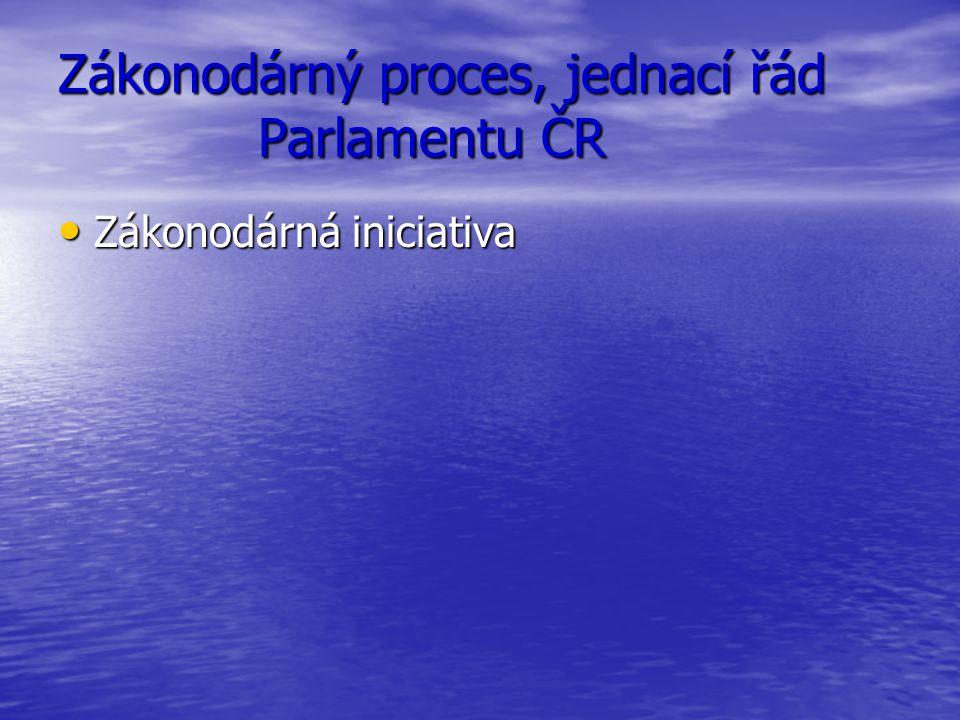 Zákonodárný proces, jednací řád Parlamentu ČR Zákonodárná iniciativa Zákonodárná iniciativa