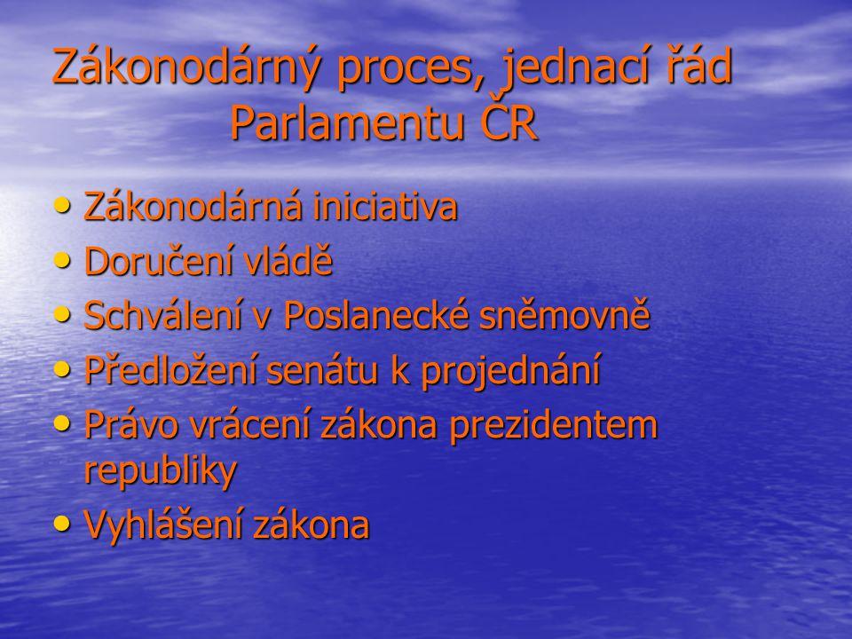 Zákonodárný proces, jednací řád Parlamentu ČR Zákonodárná iniciativa Zákonodárná iniciativa Doručení vládě Doručení vládě Schválení v Poslanecké sněmo