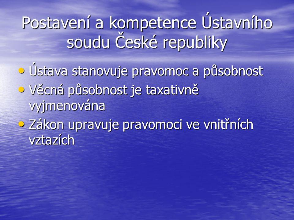 Postavení a kompetence Ústavního soudu České republiky Ústava stanovuje pravomoc a působnost Ústava stanovuje pravomoc a působnost Věcná působnost je