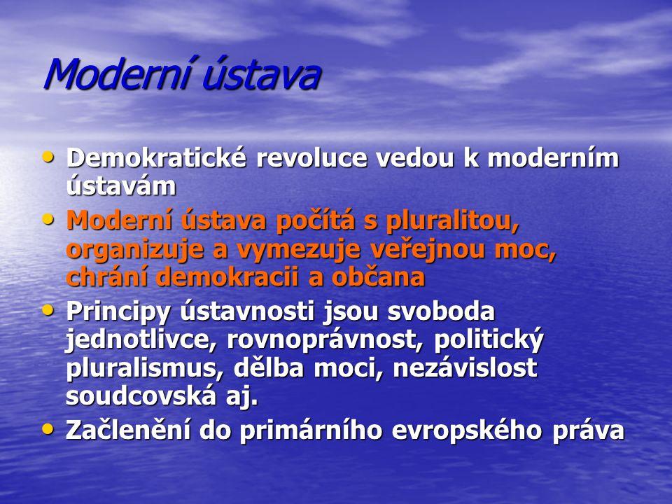 Moderní ústava Demokratické revoluce vedou k moderním ústavám Demokratické revoluce vedou k moderním ústavám Moderní ústava počítá s pluralitou, organ