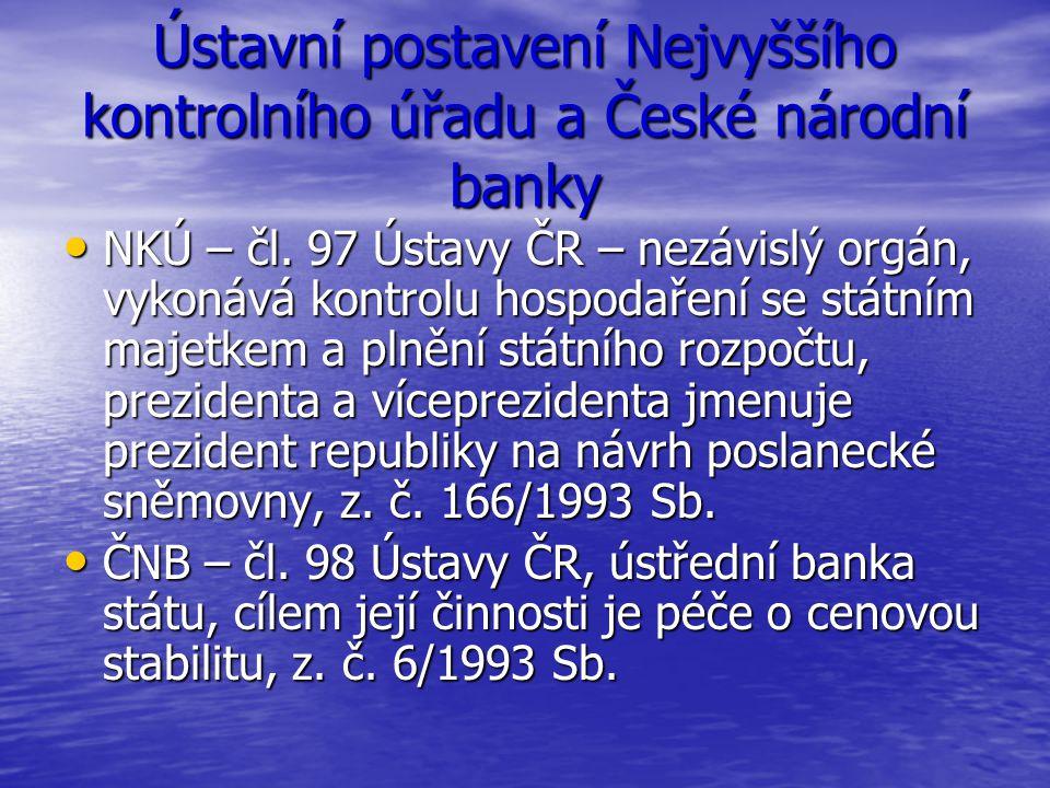 Ústavní postavení Nejvyššího kontrolního úřadu a České národní banky NKÚ – čl. 97 Ústavy ČR – nezávislý orgán, vykonává kontrolu hospodaření se státní