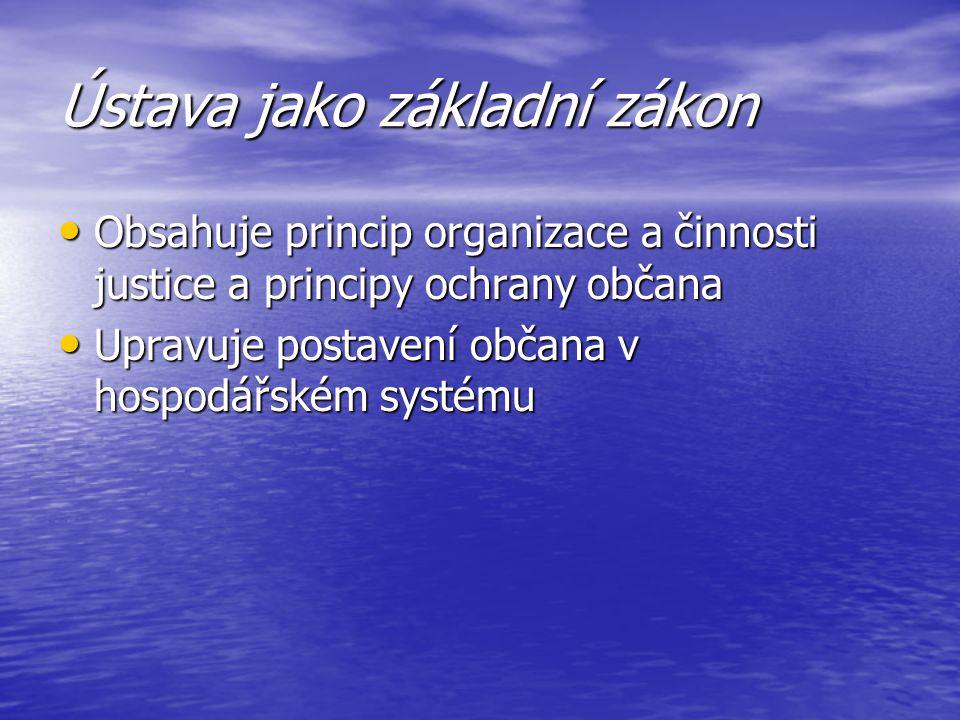 Ústava jako základní zákon Obsahuje princip organizace a činnosti justice a principy ochrany občana Obsahuje princip organizace a činnosti justice a p