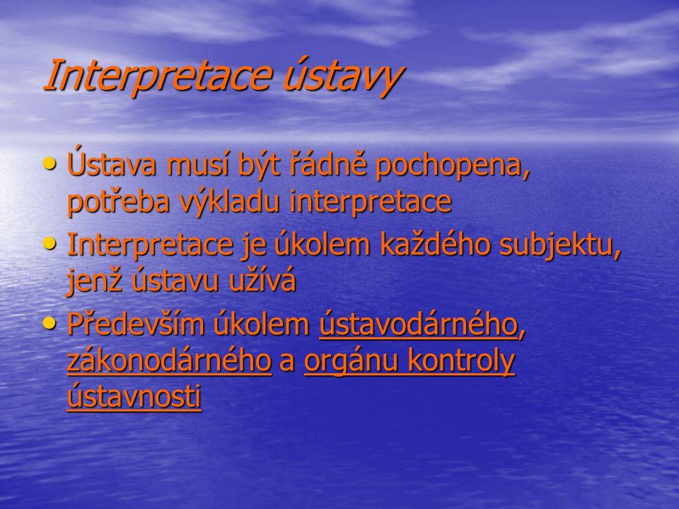 Interpretace ústavy Ústava musí být řádně pochopena, potřeba výkladu interpretace Ústava musí být řádně pochopena, potřeba výkladu interpretace Interp