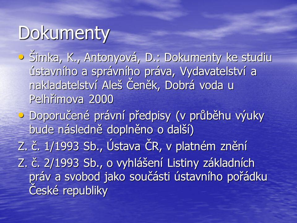 Dokumenty Šimka, K., Antonyová, D.: Dokumenty ke studiu ústavního a správního práva, Vydavatelství a nakladatelství Aleš Čeněk, Dobrá voda u Pelhřimov
