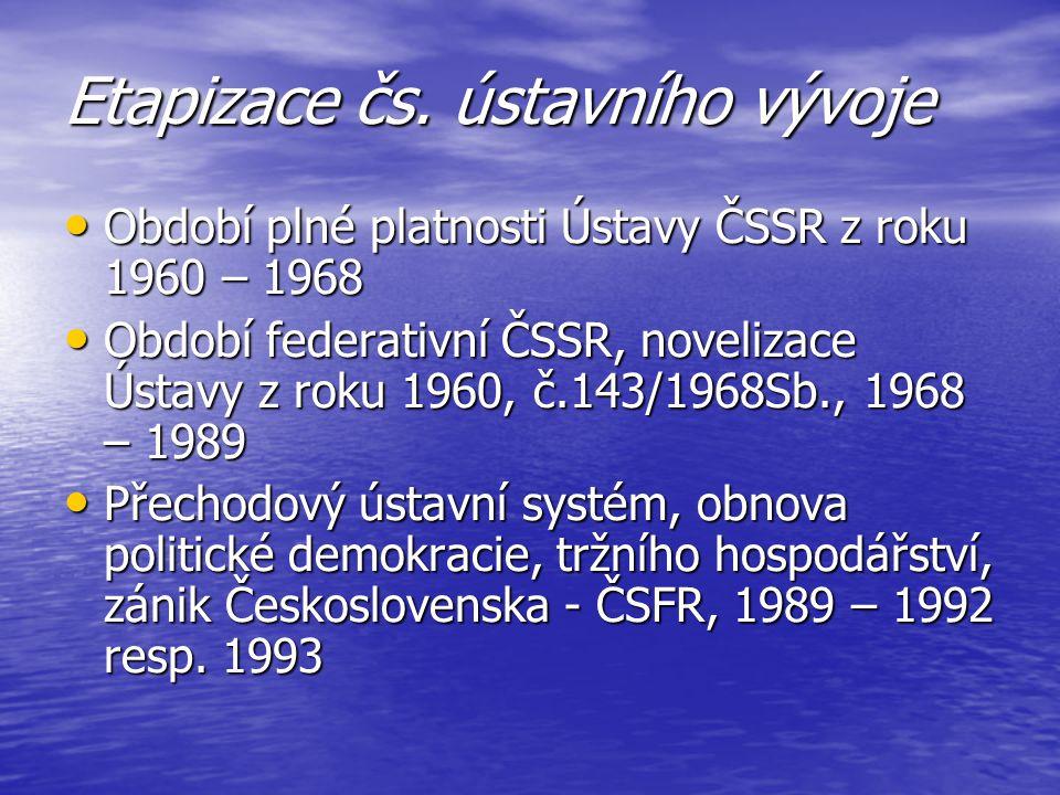 Etapizace čs. ústavního vývoje Období plné platnosti Ústavy ČSSR z roku 1960 – 1968 Období plné platnosti Ústavy ČSSR z roku 1960 – 1968 Období federa