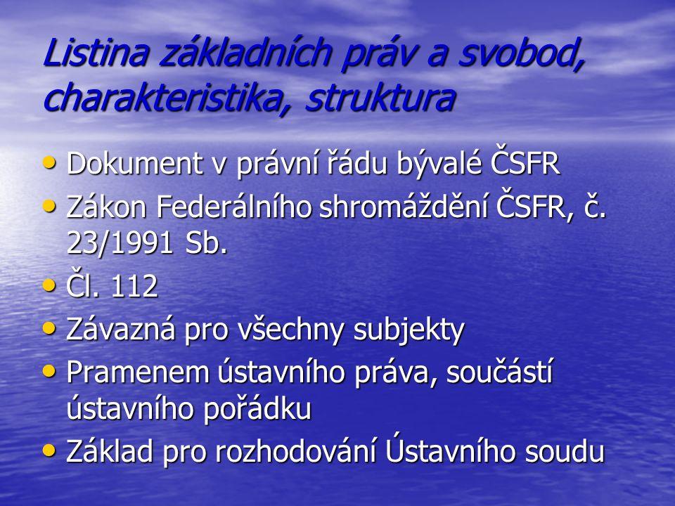 Listina základních práv a svobod, charakteristika, struktura Dokument v právní řádu bývalé ČSFR Dokument v právní řádu bývalé ČSFR Zákon Federálního s