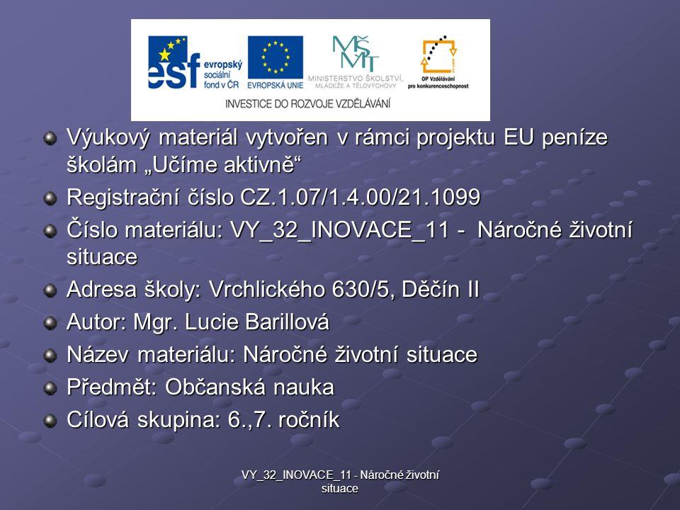 Životní příběh http://bulimie.ordinace.biz/pribehy.php VY_32_INOVACE_11 - Náročné životní situace