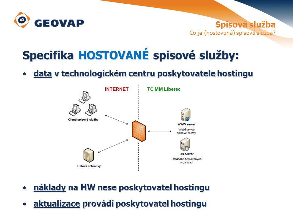 Specifika HOSTOVANÉ spisové služby: data v technologickém centru poskytovatele hostingudata v technologickém centru poskytovatele hostingu náklady na HW nese poskytovatel hostingunáklady na HW nese poskytovatel hostingu aktualizace provádí poskytovatel hostinguaktualizace provádí poskytovatel hostingu Spisová služba Co je (hostovaná) spisová služba?