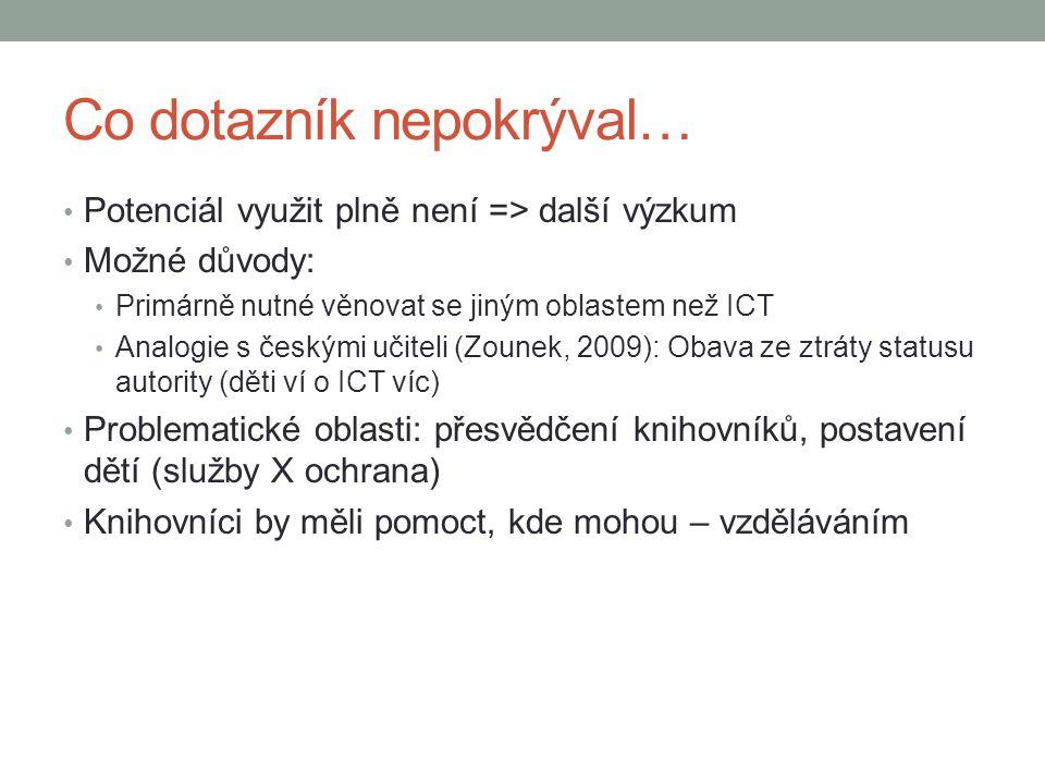 Co dotazník nepokrýval… Potenciál využit plně není => další výzkum Možné důvody: Primárně nutné věnovat se jiným oblastem než ICT Analogie s českými u