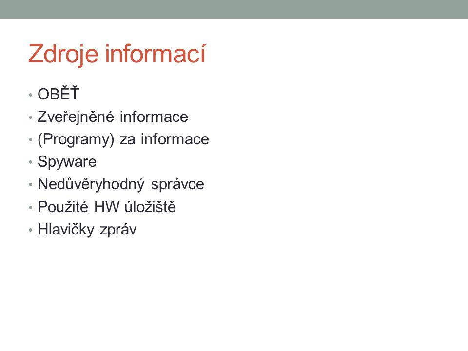 Zdroje informací OBĚŤ Zveřejněné informace (Programy) za informace Spyware Nedůvěryhodný správce Použité HW úložiště Hlavičky zpráv
