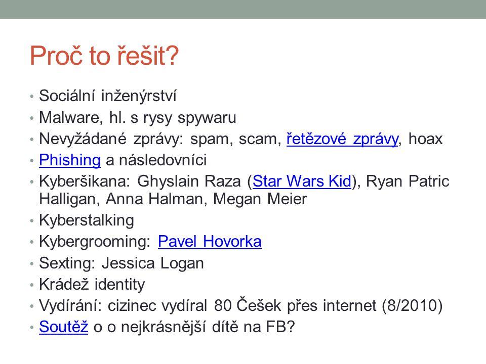 Proč to řešit? Sociální inženýrství Malware, hl. s rysy spywaru Nevyžádané zprávy: spam, scam, řetězové zprávy, hoaxřetězové zprávy Phishing a následo