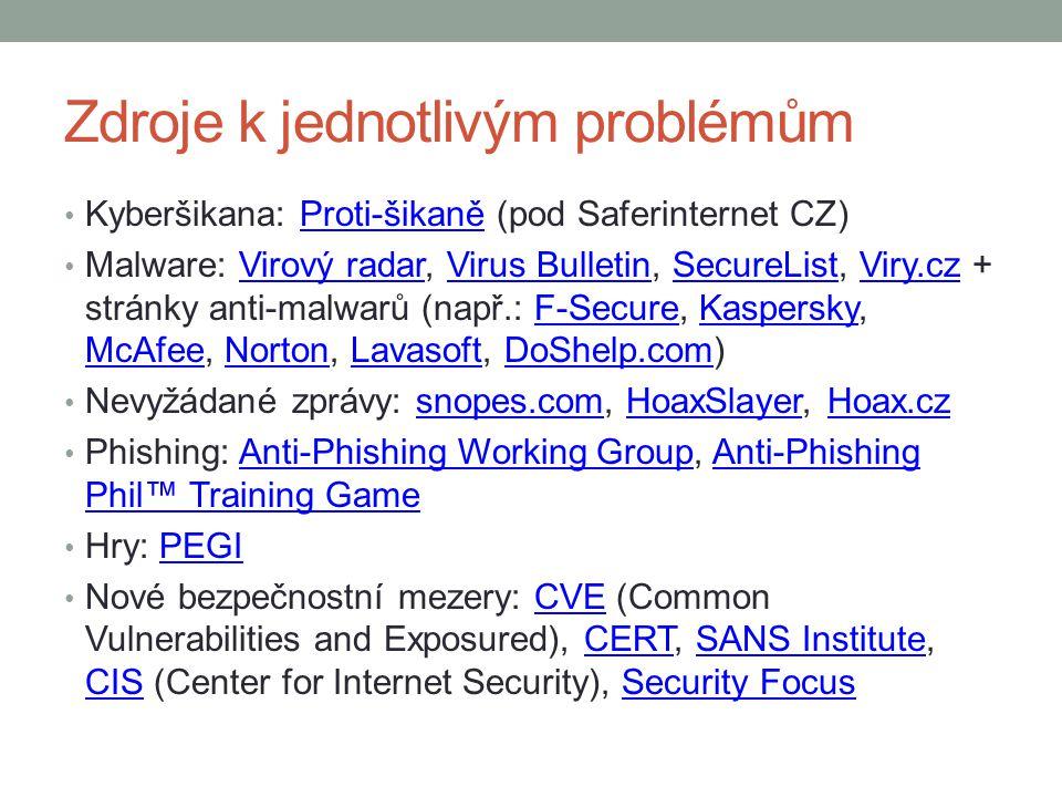 Zdroje k jednotlivým problémům Kyberšikana: Proti-šikaně (pod Saferinternet CZ)Proti-šikaně Malware: Virový radar, Virus Bulletin, SecureList, Viry.cz