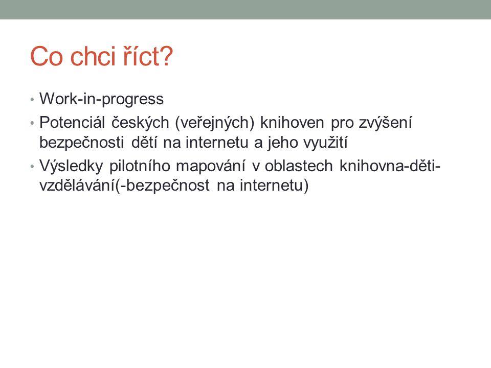 Co chci říct? Work-in-progress Potenciál českých (veřejných) knihoven pro zvýšení bezpečnosti dětí na internetu a jeho využití Výsledky pilotního mapo