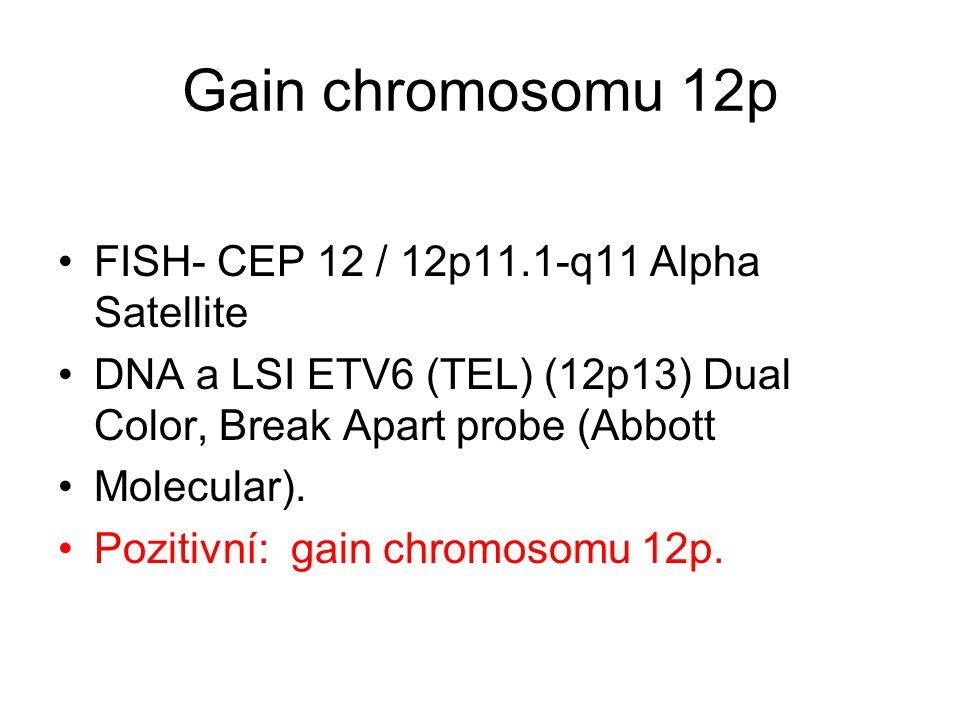 Gain chromosomu 12p FISH- CEP 12 / 12p11.1-q11 Alpha Satellite DNA a LSI ETV6 (TEL) (12p13) Dual Color, Break Apart probe (Abbott Molecular). Pozitivn