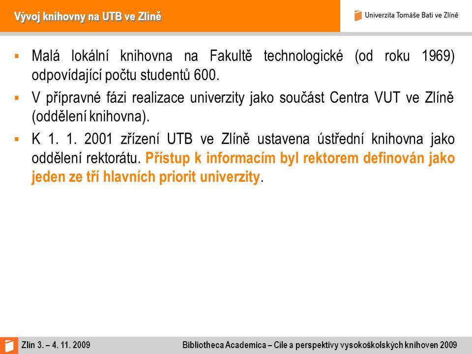 Zlín 3. – 4. 11. 2009 Bibliotheca Academica – Cíle a perspektivy vysokoškolských knihoven 2009 Vývoj knihovny na UTB ve Zlíně  Malá lokální knihovna