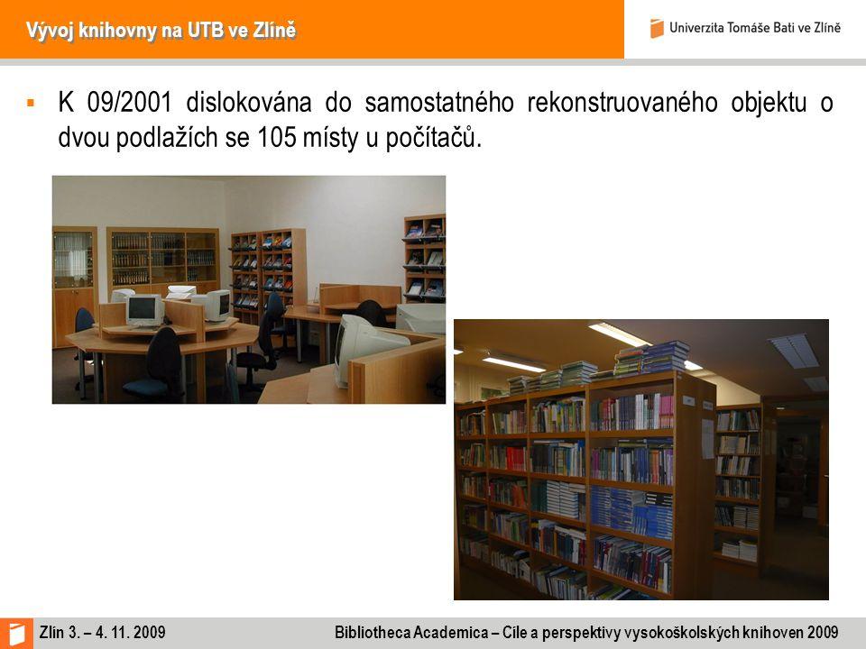 Zlín 3. – 4. 11. 2009 Bibliotheca Academica – Cíle a perspektivy vysokoškolských knihoven 2009 Vývoj knihovny na UTB ve Zlíně  K 09/2001 dislokována