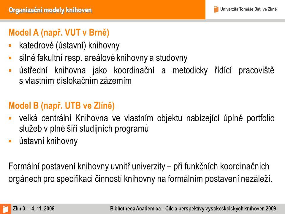 Zlín 3. – 4. 11. 2009 Bibliotheca Academica – Cíle a perspektivy vysokoškolských knihoven 2009 Organizační modely knihoven Model A (např. VUT v Brně)