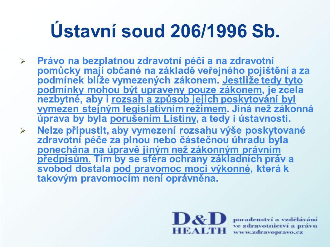 Ústavní soud 206/1996 Sb.  Právo na bezplatnou zdravotní péči a na zdravotní pomůcky mají občané na základě veřejného pojištění a za podmínek blíže v