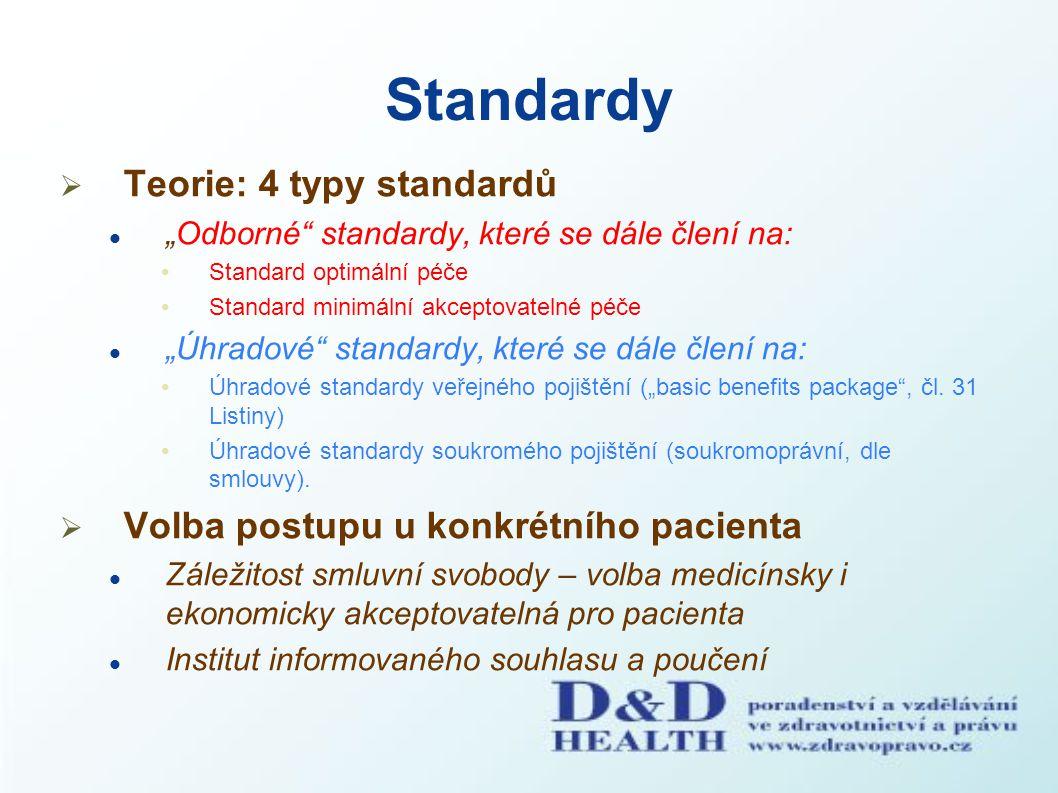 """Standardy  Teorie: 4 typy standardů """"Odborné"""" standardy, které se dále člení na: Standard optimální péče Standard minimální akceptovatelné péče """"Úhra"""