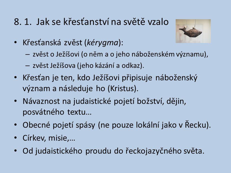 8. 1. Jak se křesťanství na světě vzalo Křesťanská zvěst (kérygma): – zvěst o Ježíšovi (o něm a o jeho náboženském významu), – zvěst Ježíšova (jeho ká