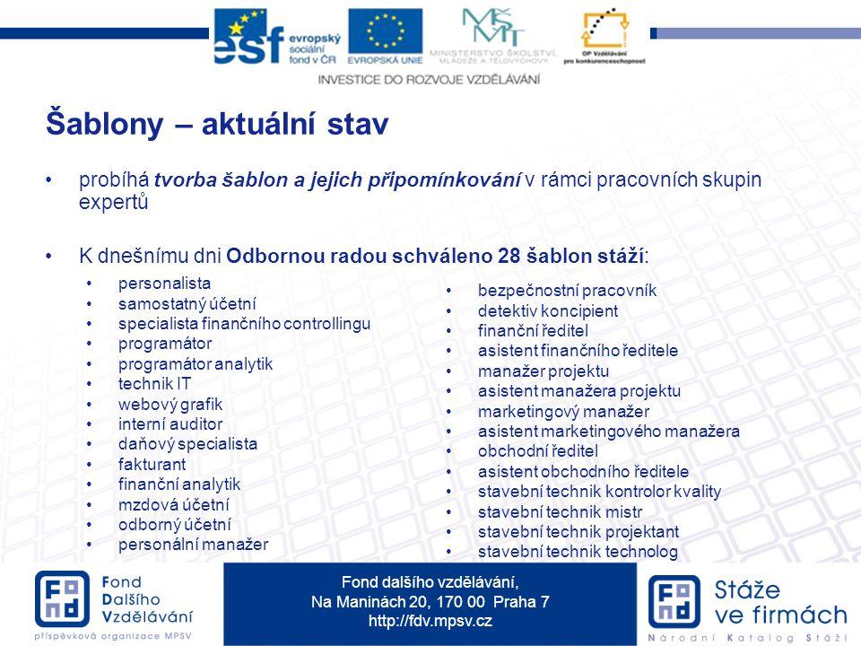 Fond dalšího vzdělávání, Na Maninách 20, 170 00 Praha 7 http://fdv.mpsv.cz probíhá tvorba šablon a jejich připomínkování v rámci pracovních skupin exp
